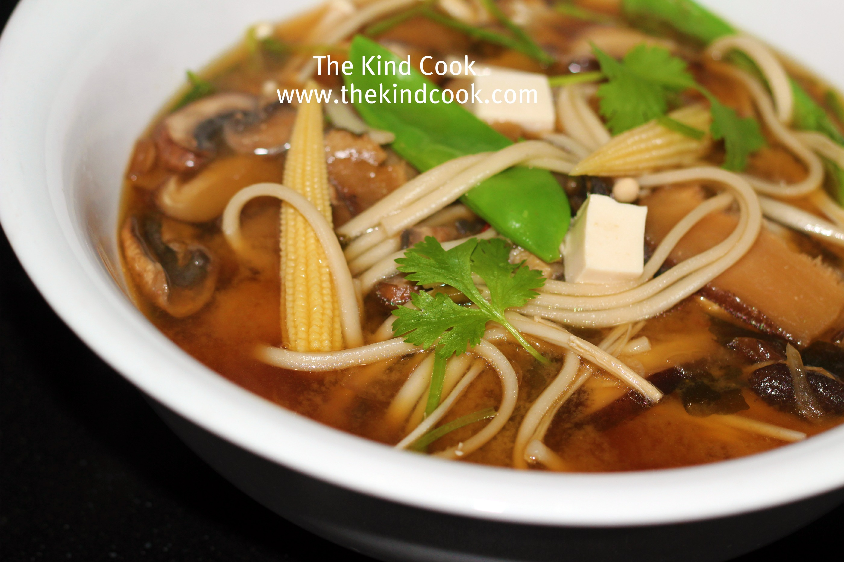 Mushroom Miso Broth w/ Udon Noodles - The Kind Cook