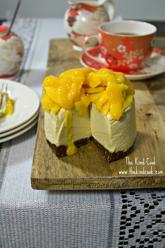 Mango and Lime Cheesecake with a Chewy Chocolate Almond Crust wm